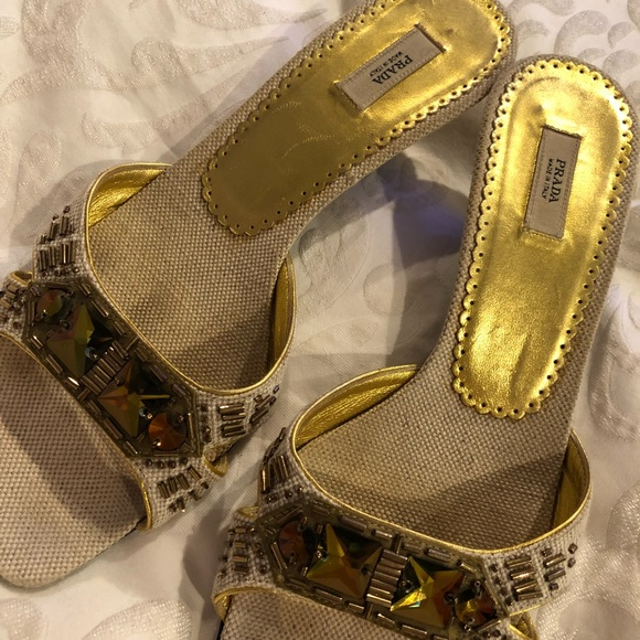 9b610ec9e4 Prada Shoes | Jeweled Kitten Heel Sandal Size 36 12 | Poshmark